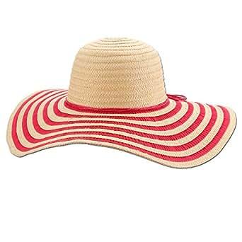 "Panama Jack Women's Sun Hat - Packable, Lightweight Braid/Ribbon, UPF (SPF) 50+ Sun Protection, 5"" Floppy Big Brim (Fuchsia)"