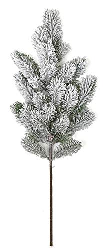 AUF001 26 Inch Snowy Glittered Pine Spray with Pine Cones