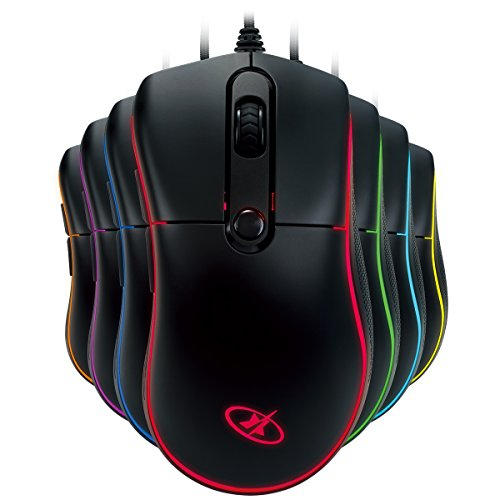 ROSEWILL RGB Gaming Mouse with LED Lighting, Wired USB Gaming Mice for Computer/PC/Laptop/Mac Book with 6000 DPI Optical Gaming Sensor and Ergonomic Design with 6 Buttons