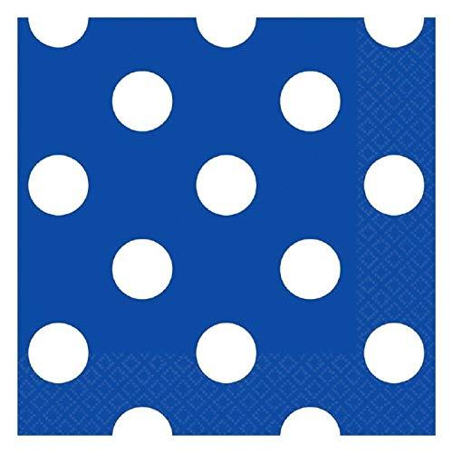 Amscan 501537.105 Disposable, Dots Beverage Napkins, Bright Royal Blue Party Supplies, 5