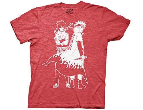 Ripple Junction Naruto Shippuden Naruto and Sasuke Outline Adult T-Shirt Large Red Heather (Best Naruto Fight Episodes)