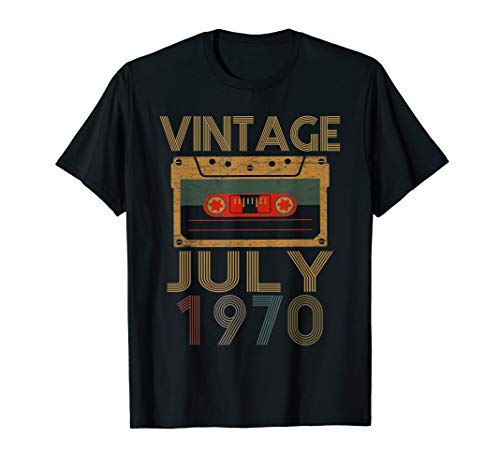 1970 Womens Retro T-shirt - Vintage Retro 49th Birthday Mixtape July 1970 T-Shirt