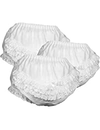 Girls White Eyelet Ruffle Seat Panties, by ICM, 3-Pack, Sizes 1, 2, 3, 4, 5, 6