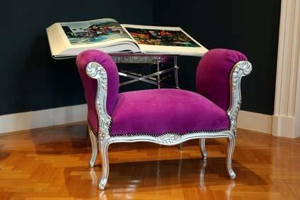 Barocco sgabello sgabello viola argento ludwig xiv sedia piatto