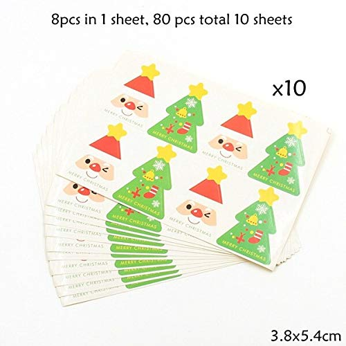 - Laz Tipa - 1Pack Cute Snowman/Santa Claus Paper Gift Tags Stickers Favors Party Accessories Christmas DIY Biscuit Kids Gifts Decorations