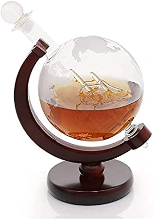 HAITRAL Globo Borrado - Decantador de whisky con barco de vela hecho a mano y soporte de fibra de vidrio, para whisky, ron y vino, 750 ml