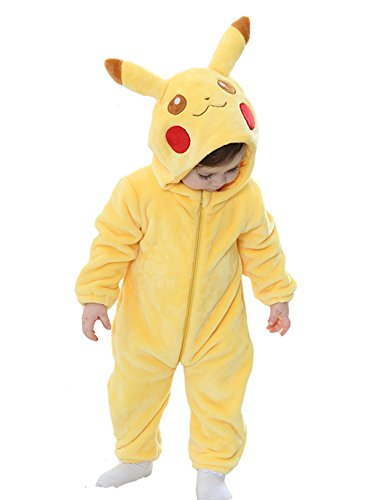 "Tonwhar Unisex-baby Animal Onesie Costume Cartoon Outfit Homewear (90(Height:29""-31""/ages 12-18 months), Pikachu)"