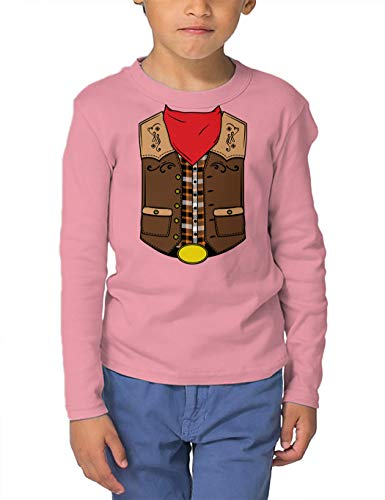 HAASE UNLIMITED Cowboy Costume - Western Wild West Long Sleeve Toddler Cotton Jersey Shirt (Light Pink, 4T) ()