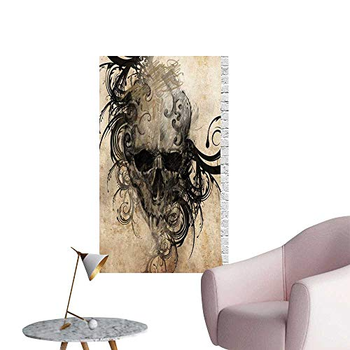 Wall Stickers for Living Room Fierce Faced Skull Triplets Detail Rose Image Black and White Vinyl Wall Stickers Print,24