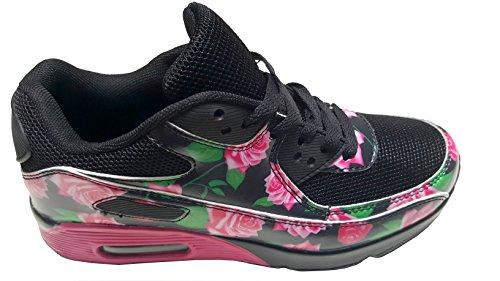 Negro gibra Zapatillas mujer negro para textil sintético de rosa vA1wYqTA