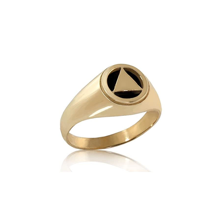 "Alcoholics Anonymous Solid 10K Gold AA 3/8"" Unity Ring with Onyx"