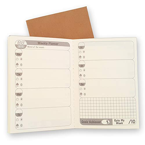 Passport Travelers Notebook Inserts - 2 Pack, 26 Weeks Per Book, Free Diary Weekly Planner Refills with 6 Monthly Summary, to Do List Calendar for Small Passport TN Journal 5 x 3.5 (12.5 x 9 cm) B7
