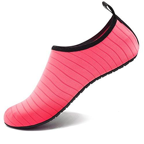 f6a274a3433 VIFUUR Water Sports Shoes Barefoot Quick-Dry Aqua Yoga Socks Slip-on for  Men Women Kids Pink-38 39