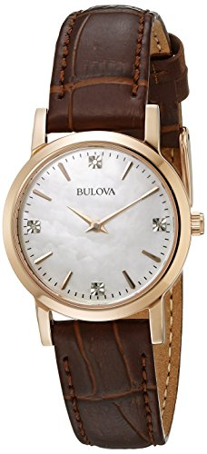 Bulova Women's 97P105 Diamond Gallery Analog Display Japanese Quartz Brown (Ladies Diamond White Mop Dial)