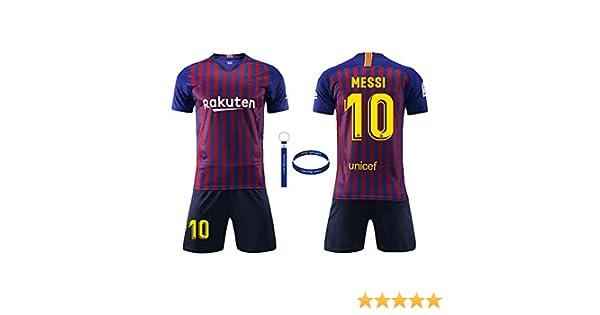 Daoseng Jersey Futbol 2019-2020 Barcelona Traje de niños Manga Corta + Pantalones Cortos,No.10 Messi Traje de Entrenamiento Deportivo para Adultos
