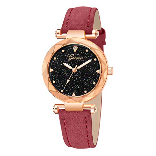 LYN Star✨ Women's Watches Leather Rhinestone Inlaid Quartz Jelly Wristwatch Geneva Chronograph Watch with Crystals Link