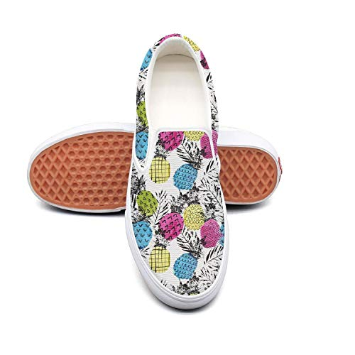 Vosda Teal Pineapple Classic Women Canvas Slip-On Shoes Sneaker ()