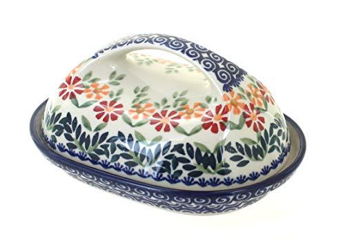 Blue Rose Polish Pottery Garden Bouquet Butter Dish ()