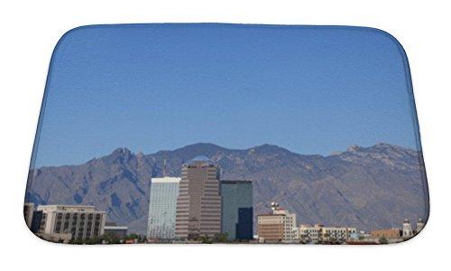 Gear New Bath Rug Mat No Slip Skid Microfiber Soft Plush Absorbent Memory Foam, City Skyline Tucson Az, - Az Skyline Tucson