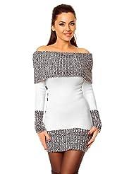 Zeta Ville - Women's Stretch Knitted Bardot Jumper Dress Sweater Tunic - 913z