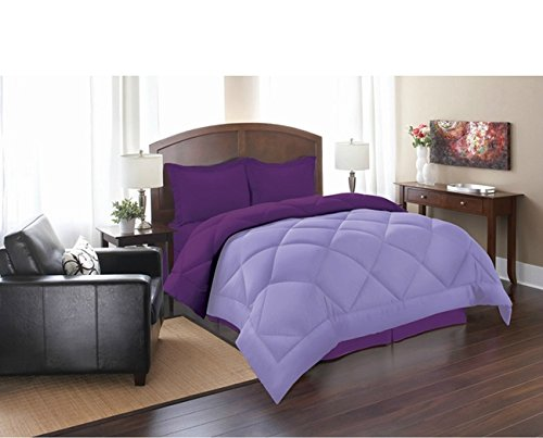 PH 3 Piece Queen Lilac Purple Reversible Comforter Set, Down Alternative, Luxury Bedding, Piped Edging, Soft Hypoallergenic, Double-Needle Stitching, Stain Resistant, Violet Lavender, - Edging Piped