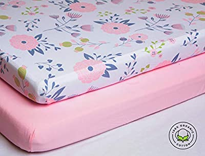 Pickle & Pumpkin Premium Crib Sheets | 100% Organic Jersey Cotton 2 Pack Baby Girl Fitted Crib Mattress Cotton Sheets | Fits Standard Baby Mattress & Toddler Mattress | Floral & Pink Design