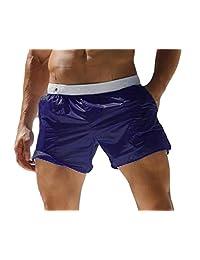 P&E Mens Beach Elastic Waist Comfort Transparent Sexy Board Shorts