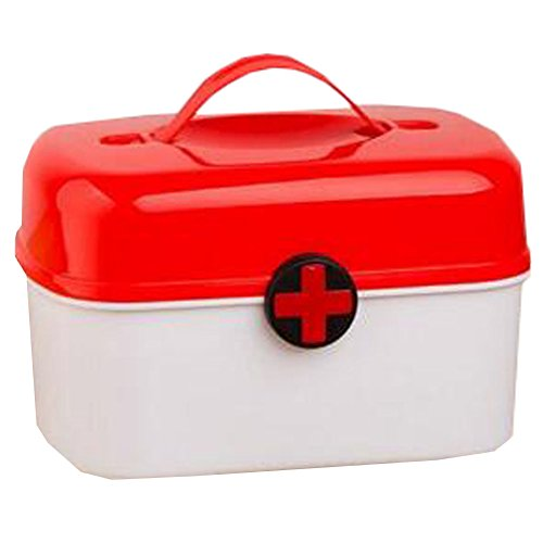 Portable Household First-Aid Kit/Medicine Storage Box Pill Organizer Red by Kylin Express
