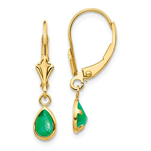 ICE CARATS 14kt Yellow Gold 6x4mm Emerald/may Leverback Earrings Lever Back Drop Dangle Birthstone May Fine Jewelry Ideal Gifts For Women Gift Set From - Emerald Gold Yellow Earings