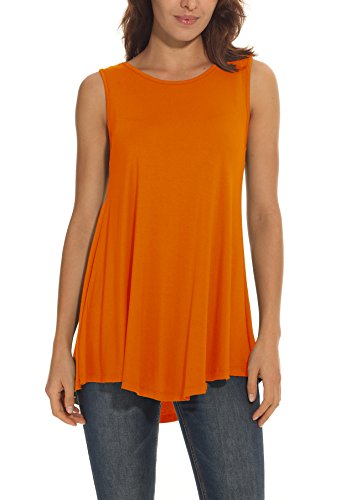Womens Orange Tank Dress (POSESHE Women's Loose Fit Flowy Stretch Crewneck Tank Tunic Blouse Orange S)