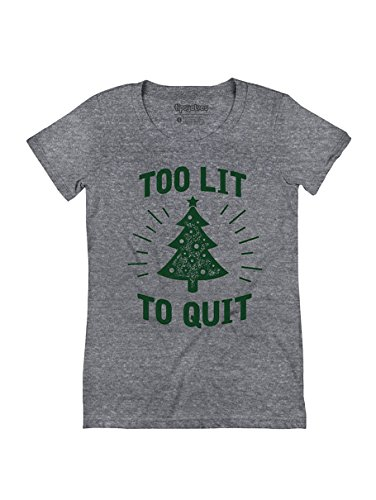 Tipsy Elves Women's Too Lit to Quit Funny Christmas Tree Tee: M Grey