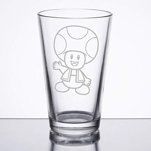 Super Mario Bros - Toad - Etched Pint Glass