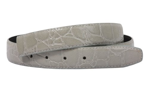 One Size Fits All Feather Edged Croco Patent Non Leather Belt Strap Color: Silver (Faux Leather Belt Strap)
