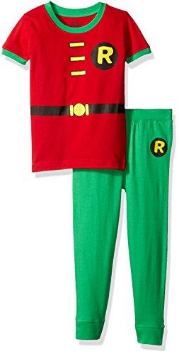 DC Comics Toddler 'Robin Logo' Cotton Costume Pajama Set, Multi, 2T
