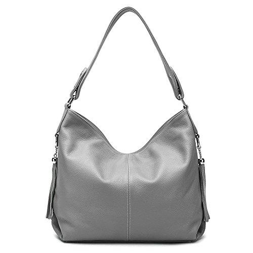 cfc8189c1a 2018 New Fashion Soft Real Genuine Leather Tassel Women s Handbag Ladies  Shoulder Tote Messenger Bag Purse Satchel Black White (Grey)