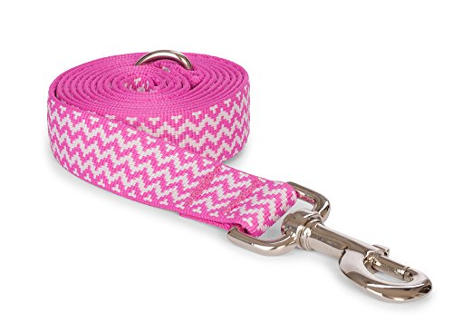 fabdog Chevron Stripe Dog Lead, Eco-Friendly Dog Leash (Pink, Small)