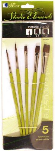 Loew-Cornell 1024928 Studio Elements Camel Short Handle Round/Shader Brush Set