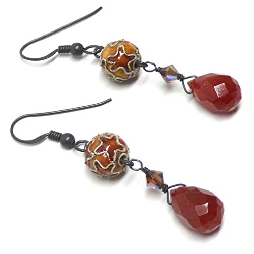 - Carnelian Briolette Oxidized Sterling Silver Earrings Chinese Cloisonne Enamel