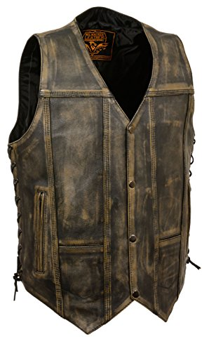 Mens Brown Leather Vest - 8