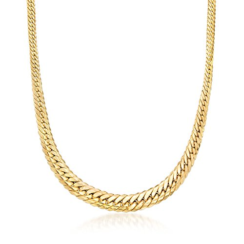 (Ross-Simons Italian 14kt Yellow Gold Graduated Curb-Link Necklace)