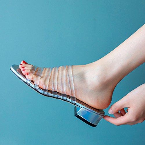 Sandales Confort ANNIESHOE low Transparent Mules Transparents Ete Heels Femme xUxgnqv
