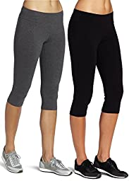 Mirity Capri Legging Active Workout Yoga Tights - Pants for Women Color Black Grey Pack Of 2 Size M