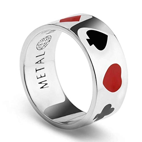 (Casino Poker Ring 925 Sterling Silver Ring Classic Cool Black and Red Enamel Texas Hold'em Spade Band)