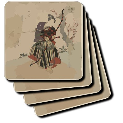 Set of 4 3dRose cst/_163230/_3 Image of Oriental Warrior with Bow and Arrow-Ceramic Tile Coasters