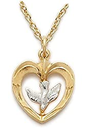 """5/8"""" 10k Gold Filled Pierced Holy Spirit 2-tone Heart Necklace with Descending Dove on 18"""" Chain"""