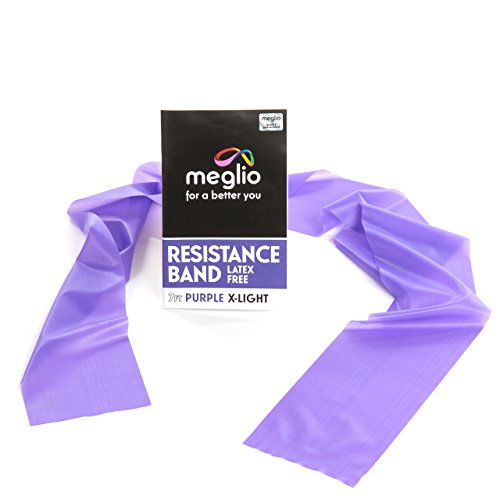 Meglio Latex Free Exercise Bands 7ft. Perfect for Physical Therapy, Strength Training Workouts, Yoga, Pilates, Stretching. Range of Resistance Strengths & Free Exercise Guide Booklet