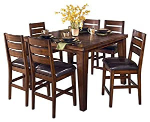 picture of Ashley Furniture Signature Design - Larchmont Dining Room Table - Counter Height with Built-in Extension - Vintage Casual - Burnished Dark Brown