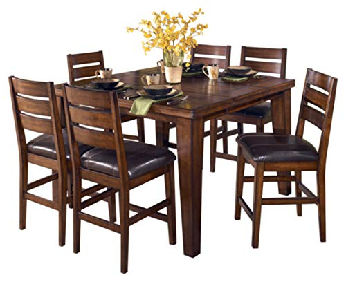 (Ashley Furniture Signature Design - Larchmont Dining Room Table - Counter Height with Built-in Extension - Vintage Casual - Burnished Dark Brown)
