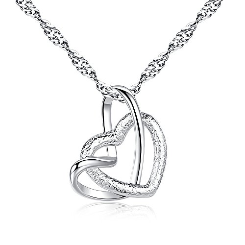 (WensLTD Clearance! Women Luxury Necklace Jewelry Charm Heart Shaped Pendant Chain Choker (Silver-1))