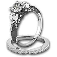LALISA Men&Womens Skull 925 Silver Black Sapphire Wedding Ring Fashion Jewelry Gifts (9)